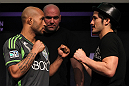 SYDNEY, AUSTRALIA - MARCH 01:  (L-R) Opponents Demetrious Johnson and Ian McCall face off during the UFC on FX press conference at the Star Casino on March 1, 2012 in Sydney, Australia.  (Photo by Josh Hedges/Zuffa LLC/Zuffa LLC via Getty Images) *** Local Caption *** Demetrious Johnson; Ian McCall