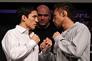 SYDNEY, AUSTRALIA - MARCH 01:  (L-R) Opponents Joseph Benavidez and Yashuhiro Urushitani face off during the UFC on FX press conference at the Star Casino on March 1, 2012 in Sydney, Australia.  (Photo by Josh Hedges/Zuffa LLC/Zuffa LLC via Getty Images) *** Local Caption *** Joseph Benavidez; Yashuhiro Urushitani