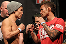 SYDNEY, AUSTRALIA - MARCH 02:  (L-R) Opponents Joseph Benavidez and Yasuhiro Urushitani face off after weighing in during the UFC on FX official weigh in at Allphones Arena on March 2, 2012 in Sydney, Australia.  (Photo by Josh Hedges/Zuffa LLC/Zuffa LLC via Getty Images) *** Local Caption *** Joseph Benavidez; Yasuhiro Urushitani