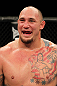 Shawn Jordan reacts after knocking out Oli Thompson in a heavyweight bout during the UFC on FX event at Allphones Arena on March 3, 2012 in Sydney, Australia.  (Photo by Josh Hedges/Zuffa LLC/Zuffa LLC via Getty Images)