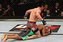 SYDNEY, AUSTRALIA - MARCH 03:  Ian McCall punches down at Demetrious Johnson in a flyweight bout during the UFC on FX event at Allphones Arena on March 3, 2012 in Sydney, Australia.  (Photo by Josh Hedges/Zuffa LLC/Zuffa LLC via Getty Images) *** Local Caption *** Demetrious Johnson; Ian McCall