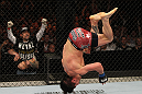SYDNEY, AUSTRALIA - MARCH 03:  Ian McCall performs a back flip in the Octagon after his three-round war against Demetrious Johnson in a flyweight bout during the UFC on FX event at Allphones Arena on March 3, 2012 in Sydney, Australia.  (Photo by Josh Hedges/Zuffa LLC/Zuffa LLC via Getty Images) *** Local Caption *** Ian McCall