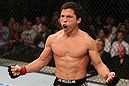 SYDNEY, AUSTRALIA - MARCH 03:  Joseph Benavidez reacts after knocking out Yasuhiro Urushitani in a flyweight bout during the UFC on FX event at Allphones Arena on March 3, 2012 in Sydney, Australia.  (Photo by Josh Hedges/Zuffa LLC/Zuffa LLC via Getty Images) *** Local Caption *** Joseph Benavidez