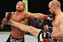 SYDNEY, AUSTRALIA - MARCH 03:  (R-L) Martin Kampmann and Thiago Alves trade strikes in a welterweight bout during the UFC on FX event at Allphones Arena on March 3, 2012 in Sydney, Australia.  (Photo by Josh Hedges/Zuffa LLC/Zuffa LLC via Getty Images) *** Local Caption *** Thiago Alves; Martin Kampmann