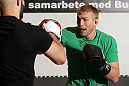 STOCKHOLM, SWEDEN - APRIL 11:  Alexander Gustafsson of Sweden works out for the media during the UFC open workouts at Pancrase Gym on April 11, 2012 in Stockholm, Sweden.  (Photo by Josh Hedges/Zuffa LLC/Zuffa LLC via Getty Images)
