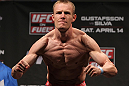 STOCKHOLM, SWEDEN - APRIL 13:  James Head weighs in during the official UFC on Fuel TV weigh in event at Ericsson Globe on April 13, 2012 in Stockholm, Sweden.  (Photo by Josh Hedges/Zuffa LLC/Zuffa LLC via Getty Images)