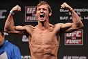 STOCKHOLM, SWEDEN - APRIL 13:  Brad Pickett of England weighs in during the official UFC on Fuel TV weigh in event at Ericsson Globe on April 13, 2012 in Stockholm, Sweden.  (Photo by Josh Hedges/Zuffa LLC/Zuffa LLC via Getty Images)