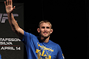 STOCKHOLM, SWEDEN - APRIL 13:  Alexander Gustafsson of Sweden salutes his hometown crowd during the official UFC on Fuel TV weigh in event at Ericsson Globe on April 13, 2012 in Stockholm, Sweden.  (Photo by Josh Hedges/Zuffa LLC/Zuffa LLC via Getty Images)