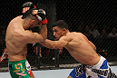 STOCKHOLM, SWEDEN - APRIL 14:  (R-L) Yoislandy Izquierdo punches Reza Madadi during their lightweight bout at the UFC on Fuel TV event at Ericsson Globe on April 14, 2012 in Stockholm, Sweden.  (Photo by Josh Hedges/Zuffa LLC/Zuffa LLC via Getty Images)