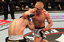 STOCKHOLM, SWEDEN - APRIL 14:  (R-L) Dennis Siver punches Diego Nunes during their featherweight bout at the UFC on Fuel TV event at Ericsson Globe on April 14, 2012 in Stockholm, Sweden.  (Photo by Josh Hedges/Zuffa LLC/Zuffa LLC via Getty Images)