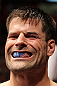 STOCKHOLM, SWEDEN - APRIL 14:  Brian Stann prepares to enter the Octagon before his bout against Alessio Sakara at the UFC on Fuel TV event at Ericsson Globe on April 14, 2012 in Stockholm, Sweden.  (Photo by Josh Hedges/Zuffa LLC/Zuffa LLC via Getty Images)