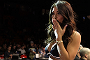 STOCKHOLM, SWEDEN - APRIL 14:  UFC Octagon Girl Arianny Celeste introduces round one before the Young v Wisely bout at the UFC on Fuel TV event at Ericsson Globe on April 14, 2012 in Stockholm, Sweden.  (Photo by Josh Hedges/Zuffa LLC/Zuffa LLC via Getty Images)