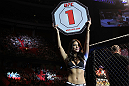 STOCKHOLM, SWEDEN - APRIL 14:  UFC Octagon Girl Arianny Celeste introduces round one before the Pickett v Page bout at the UFC on Fuel TV event at Ericsson Globe on April 14, 2012 in Stockholm, Sweden.  (Photo by Josh Hedges/Zuffa LLC/Zuffa LLC via Getty Images)