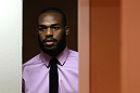 ATLANTA, GA - APRIL 18:  Jon Jones waits to be introduced prior to the press conference for his UFC 145 bout against Rashad Evans at Park Tavern on April 18, 2012 in Atlanta, Georgia.  (Photo by Kevin C. Cox/Zuffa LLC/Zuffa LLC via Getty Images)