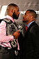 ATLANTA, GA - APRIL 18:  Jon Jones and Rashad Evans square off during the press conference for their UFC 145 between Jones v Evans at Park Tavern on April 18, 2012 in Atlanta, Georgia.  (Photo by Kevin C. Cox/Zuffa LLC/Zuffa LLC via Getty Images)