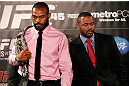 ATLANTA, GA - APRIL 18:  Jon Jones and Rashad Evans square off during the press conference for their UFC 145 bout at Park Tavern on April 18, 2012 in Atlanta, Georgia.  (Photo by Kevin C. Cox/Zuffa LLC/Zuffa LLC via Getty Images)