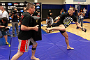 ATLANTA, GA - APRIL 19:  Stephen Thompson works out for the media during UFC 145 open workouts at GSU Sports Arena on April 19, 2012 in Atlanta, Georgia.  (Photo by Kevin C. Cox/Zuffa LLC/Zuffa LLC via Getty Images)
