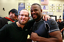 ATLANTA, GA - APRIL 19:  Rashad Evans poses for photographs with fans after working out for the media during UFC 145 open workouts at GSU Sports Arena on April 19, 2012 in Atlanta, Georgia.  (Photo by Kevin C. Cox/Zuffa LLC/Zuffa LLC via Getty Images)