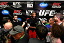 ATLANTA, GA - APRIL 19:  Jon Jones speaks with the media after his UFC 145 open workouts at GSU Sports Arena on April 19, 2012 in Atlanta, Georgia.  (Photo by Kevin C. Cox/Zuffa LLC/Zuffa LLC via Getty Images)