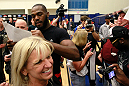 ATLANTA, GA - APRIL 19:  Jon Jones signs autographs for fans after working out for the media during UFC 145 open workouts at GSU Sports Arena on April 19, 2012 in Atlanta, Georgia.  (Photo by Kevin C. Cox/Zuffa LLC/Zuffa LLC via Getty Images)
