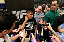 ATLANTA, GA - APRIL 19:  Miguel Angel Torres converses with media during UFC 145 open workouts at GSU Sports Arena on April 19, 2012 in Atlanta, Georgia.  (Photo by Kevin C. Cox/Zuffa LLC/Zuffa LLC via Getty Images)