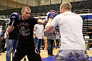ATLANTA, GA - APRIL 19:  Michael McDonald works out for the media during UFC 145 open workouts at GSU Sports Arena on April 19, 2012 in Atlanta, Georgia.  (Photo by Kevin C. Cox/Zuffa LLC/Zuffa LLC via Getty Images)