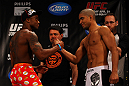 ATLANTA, GA - APRIL 20:  Featherweight fighters Marcus Brimage and Maximo Blanco square off during the UFC 145 official weigh in at Fox Theatre on April 20, 2012 in Atlanta, Georgia.  (Photo by Al Bello/Zuffa LLC/Zuffa LLC via Getty Images)