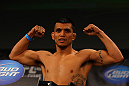 ATLANTA, GA - APRIL 20:  Lightweight fighter Efrain Escudero weighs in for his fight against Mac Danzig during the UFC 145 official weigh in at Fox Theatre on April 20, 2012 in Atlanta, Georgia.  (Photo by Al Bello/Zuffa LLC/Zuffa LLC via Getty Images)