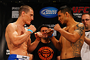 ATLANTA, GA - APRIL 20:  Leightweight fighters Mac Danzig (L) and Efrain Escudero square off during the UFC 145 official weigh in at Fox Theatre on April 20, 2012 in Atlanta, Georgia.  (Photo by Al Bello/Zuffa LLC/Zuffa LLC via Getty Images)