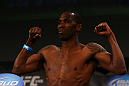 ATLANTA, GA - APRIL 20:  Lightweight fighter Anthony Njokuani weighs in for his bout against John Makdessi during the UFC 145 official weigh in at Fox Theatre on April 20, 2012 in Atlanta, Georgia.  (Photo by Al Bello/Zuffa LLC/Zuffa LLC via Getty Images)