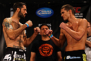ATLANTA, GA - APRIL 20:  Welterweight fighters Matt Brown and Stephen Thompson square off during the UFC 145 official weigh in at Fox Theatre on April 20, 2012 in Atlanta, Georgia.  (Photo by Al Bello/Zuffa LLC/Zuffa LLC via Getty Images)