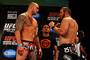ATLANTA, GA - APRIL 20:  Heavyweight fighters Travis Browne (L)  and Chad Griggs square off during the UFC 145 official weigh in at Fox Theatre on April 20, 2012 in Atlanta, Georgia.  (Photo by Al Bello/Zuffa LLC/Zuffa LLC via Getty Images)