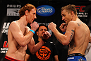 ATLANTA, GA - APRIL 20:  Lightweight fighters Mark Bocek (L) and John Alessio square off during the UFC 145 official weigh in at Fox Theatre on April 20, 2012 in Atlanta, Georgia.  (Photo by Al Bello/Zuffa LLC/Zuffa LLC via Getty Images)