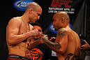 ATLANTA, GA - APRIL 20:  Featherweight fighters Mark Hominick (L) and Eddie Yagin square off during the UFC 145 official weigh in at Fox Theatre on April 20, 2012 in Atlanta, Georgia.  (Photo by Al Bello/Zuffa LLC/Zuffa LLC via Getty Images)