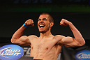 ATLANTA, GA - APRIL 20:  Bantamweight fighter Michael McDonald weighs in for his bout against Miguel Angel Torres during the UFC 145 official weigh in at Fox Theatre on April 20, 2012 in Atlanta, Georgia.  (Photo by Al Bello/Zuffa LLC/Zuffa LLC via Getty Images)