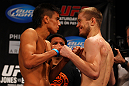 ATLANTA, GA - APRIL 20:  Bantamweight fighters Miguel Angel Torres (L) and Michael McDonald square off during the UFC 145 official weigh in at Fox Theatre on April 20, 2012 in Atlanta, Georgia.  (Photo by Al Bello/Zuffa LLC/Zuffa LLC via Getty Images)