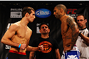 ATLANTA, GA - APRIL 20:  Welterweight fighters Rory MacDonald (L) and Che Mills square off during the UFC 145 official weigh in at Fox Theatre on April 20, 2012 in Atlanta, Georgia.  (Photo by Al Bello/Zuffa LLC/Zuffa LLC via Getty Images)