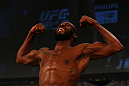ATLANTA, GA - APRIL 20:  Jon Jones weighs in during the UFC 145 official weigh in at Fox Theatre on April 20, 2012 in Atlanta, Georgia.  (Photo by Al Bello/Zuffa LLC/Zuffa LLC via Getty Images)