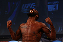 ATLANTA, GA - APRIL 20:  Light Heavyweight fighter Jon Jones weighs in for his bout with Rashad Evans during the UFC 145 official weigh in at Fox Theatre on April 20, 2012 in Atlanta, Georgia.  (Photo by Al Bello/Zuffa LLC/Zuffa LLC via Getty Images)