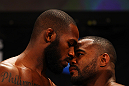 ATLANTA, GA - APRIL 20:  Jon Jones (L) and Rashad Evans face off during the UFC 145 official weigh in at Fox Theatre on April 20, 2012 in Atlanta, Georgia.  (Photo by Al Bello/Zuffa LLC/Zuffa LLC via Getty Images)