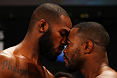 ATLANTA, GA - APRIL 20:  Lightheavyweight fighters Jon Jones (L) and Rashad Evans face off during the UFC 145 official weigh in at Fox Theatre on April 20, 2012 in Atlanta, Georgia.  (Photo by Al Bello/Zuffa LLC/Zuffa LLC via Getty Images)