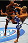 ATLANTA, GA - APRIL 21:  Marcus Brimage (L) and Maximo Blanco fight during their featherweight bout for UFC 145 at Philips Arena on April 21, 2012 in Atlanta, Georgia.  (Photo by Al Bello/Zuffa LLC/Zuffa LLC via Getty Images)