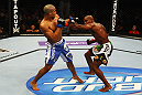 ATLANTA, GA - APRIL 21:  Marcus Brimage (R) punches Maximo Blanco during their featherweight bout for UFC 145 at Philips Arena on April 21, 2012 in Atlanta, Georgia.  (Photo by Al Bello/Zuffa LLC/Zuffa LLC via Getty Images)