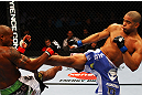 ATLANTA, GA - APRIL 21:  Maximo Blanco (R) kicks Marcus Brimage during their featherweight bout for UFC 145 at Philips Arena on April 21, 2012 in Atlanta, Georgia.  (Photo by Al Bello/Zuffa LLC/Zuffa LLC via Getty Images)