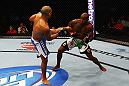 ATLANTA, GA - APRIL 21:  Marcus Brimage (R) blocks a kick by Maximo Blanco during their featherweight bout for UFC 145 at Philips Arena on April 21, 2012 in Atlanta, Georgia.  (Photo by Al Bello/Zuffa LLC/Zuffa LLC via Getty Images)