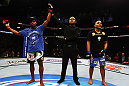ATLANTA, GA - APRIL 21:  Marcus Brimage (L) celebrates after defeating Maximo Blanco (R) in their featherweight bout for UFC 145 at Philips Arena on April 21, 2012 in Atlanta, Georgia.  (Photo by Al Bello/Zuffa LLC/Zuffa LLC via Getty Images)