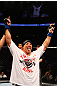 ATLANTA, GA - APRIL 21:  Chris Clements celebrates defeating Keith Wisniewski  by split decision during their welterweight bout for UFC 145 at Philips Arena on April 21, 2012 in Atlanta, Georgia.  (Photo by Al Bello/Zuffa LLC/Zuffa LLC via Getty Images)