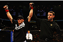 ATLANTA, GA - APRIL 21:  Mac Danzig (L) celebrates defeating Efrain Escudero by unanimous decision during their lightweight bout for UFC 145 at Philips Arena on April 21, 2012 in Atlanta, Georgia.  (Photo by Al Bello/Zuffa LLC/Zuffa LLC via Getty Images)