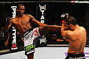 ATLANTA, GA - APRIL 21:  Anthony Njokuani (L) kicks John Makdessi during their lightweight bout for UFC 145 at Philips Arena on April 21, 2012 in Atlanta, Georgia.  (Photo by Al Bello/Zuffa LLC/Zuffa LLC via Getty Images)