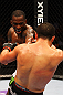 ATLANTA, GA - APRIL 21:  Anthony Njokuani (back) punches John Makdessi during their lightweight bout for UFC 145 at Philips Arena on April 21, 2012 in Atlanta, Georgia.  (Photo by Al Bello/Zuffa LLC/Zuffa LLC via Getty Images)